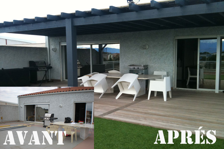 Charpentes ossatures m diterran e r alisations com66 for Amenagement terrasse restaurant